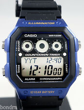 Casio AE1300WH-2AV Mens World Time 5 Alarms Watch 10 Year Battery 9 Timers New