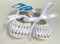 NWT Will'beth White Baby Booties Crochet Ribbons Crib Shoes Newborn