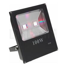 100W COB Outdoor LED Flood Light RGB IP65 Black Waterproof