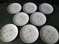 "8 STAR GLOW Royal China 10"" Dinner Plates Mid Century Modern Set Gold Snowflake"