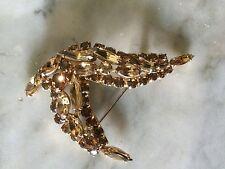 vtg 1950s SHERMAN crystal topaz rhinestone brooch
