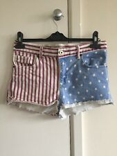 Topshop Ladies/girls American Flag Hot Pant Jean Shorts W30 (76cm) UK size 12