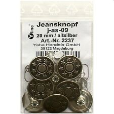 8 Metall-, Jeans- Knöpfe altsilber 20mm, Nähfreiknöpfe, Hosenknöpfe, j-as-09