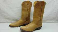 Nocona Men's 11.5 D Tan Deer Hide Leather Round Toe Western Cowboy Riding Boots