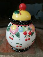 "2000 Mary Engelbreit Cherry Jar Large 9.5"" Ceramic Canister"