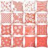 Coral Print Polyester Pillow Case Sofa Car Waist Throw Cushion Cover Home Decor