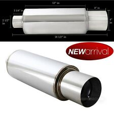 "Metro N1 Weld On Flat Tip 4"" Chrome Tip 2.5 Inlet Muffler Exhaust w/ Silencer"
