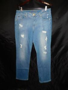JAG Jeans Size 14 Blue Jeans Mid Rise Straight Leg Distressed Denim Light Wash