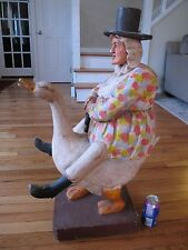 "ANTIQUE HAND CARVED WOODEN MOTHER GOOSE Large 32"" Folk Art Hand-Painted Carving"