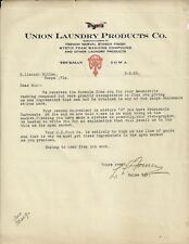 OLD VINTAGE UNION LAUNDRY PRODUCTS CO. THURMAN IOWA 1923 LETTER LETTERHEAD