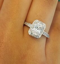 1.75 ct 14K White Gold Emerald Cut Diamond Solitaire Engagement Ring 3.1 grams