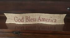 "Primitive Wired Burlap Ribbon Banner God Bless America Patriotic New 2-1/2""x14"""