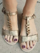 Pre owned loved womens size 8 Gold gladiator summer sandals