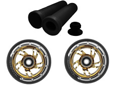 Pair Gold Stunt Scooter Wheels 110mm Alloy Core + Black Handlebar Grips Combo