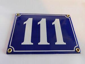 Antique French Blue  Genuine Enamel Porcelain House Door Number Sign / Plate 111