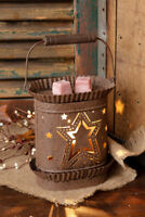 Brown Primitive Country Punched Star Rusty Brown Tart Wax Warmer
