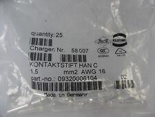 25x Harting HAN C Kontaktstift 1,5 09320006104 mm2 AWG 16 Neu OVP
