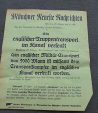 1. WK Plakat Tagesaufruf Aufmacher Münchner Zeitung torpedierter Truppentranspor
