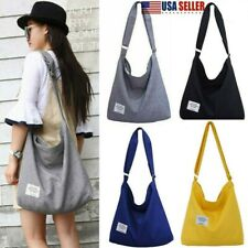 US Women Vintage Canvas Hobo Bag Large Tote Messenger Shoulder Purse Zip Handbag