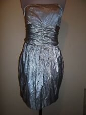 WAYNE by Wayne Cooper silver DRESS size 10 strapless cotton metal ruched & lined