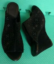 Joie Womens Peep Toe Mules Wedges Sandals Heels Black Suede Size EUR 37.5