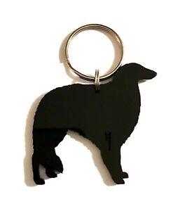 Borzoi Dog Russian Wolfhound Dog Keyring Keychain Bag Charm Gift In Black
