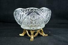 Vintage Pressed Glass/Crystal Bowl With Brass Stand/Base - L & L WMC