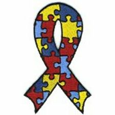 Autism Awareness Ribbon Puzzle Piece Embroidered Iron On Patch-NEW-FREE SHIPPING