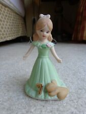 Enesco Growing Up Birthday Girls Age 7 Brunette Brown Hair Ceramic Figurine Euc