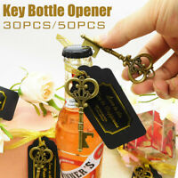 30/50Pcs Key Bottle Opener +Tag Card Wedding Favor Souvenirs Gift for Guest ✵