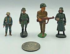 (4) Pc Vintage German WWII Plastic Metal Lead Toy Soldiers ELASTOLIN ++ GREAT