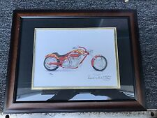 Signed Print Original Motorcycle Art Perewitz Discovery Chopper by F Warner