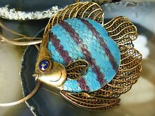 Vtg Chinese Gilt Sterling Silver Cloisonne fIsh PENDANT BROOCH Necklace Enamel