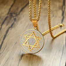 "Men Titanium Stainless Steel Cubic Zircon Gold Hexagon Star Necklace 23.5"""