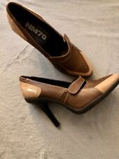Nicole Miller Brown Mixed Leather High Heels  Size 8B Pumps W/ Best Grip Soles