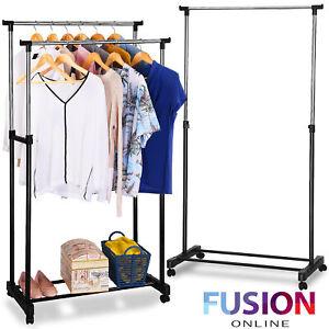 Heavy Duty Garment Rack Clothes Rail Coat Rail Storage Adjustable Portable Stand