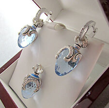GORGEOUS PENDANT & EARRINGS SET MADE OF SOLID STERLING SILVER 925 BLUE TOPAZ