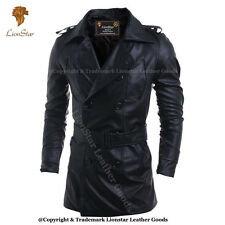 Lionstar Royal Double Breast Gothic Steampunk Vintage Military Real Leather Coat