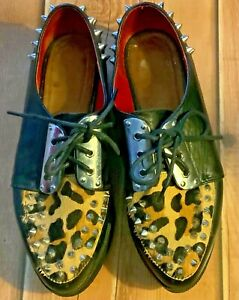 Vintage Shelly's Studded Black & Leopard Print Creeper Shoes Size 6/39