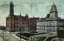 Postcard City Hall, Bee Bldg & Courthouse, Omaha, Nebraska - used 1907