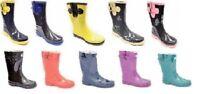 Women Short Moto Style Rubber Rain Boots Solid Colors