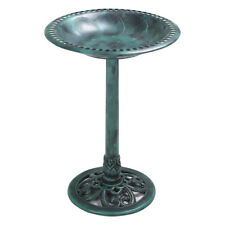 Outdoor 27.6'' Height Pedestal Bird Bath Vintage Garden Backyard Ornaments Green