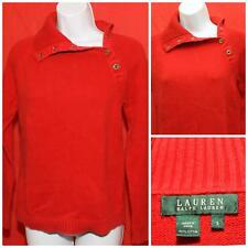 "Womens Raplh Lauren Red Snap Crossover Turtle Neck Sweater Small 18"" Pit2Pit"