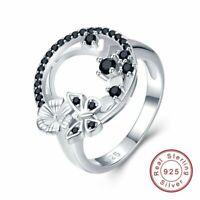 925 Sterling Silber Ring Schwarz Granne Spinell Damen edlen Schmuck silver rings