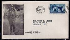 1946 Will Rogers Memorial Cover - Photo w/ Airplane - Claremore, Oklahoma to OH