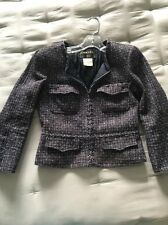 CHANEL navy blue short vintage jacket sz 38 zip front & wrists, tweed