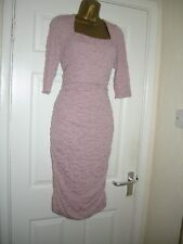 16 DUSKY PINK RUCHED MIDI DRESS DAMSEL IN A DRESS BODYCON RETRO 70'S XMAS PARTY