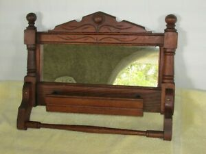 Vintage Eastlake Victorian Style Wood Towel Bar w Mirror & Comb Box