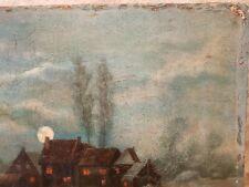 antikes Ölbild Ölgemälde signiert datiert 1896 Exterieur Dorf im Mondschein