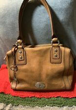 Fossil Maddox Saddle Brown Pebble Grain Leather Shoulder Bag Hobo Satchel